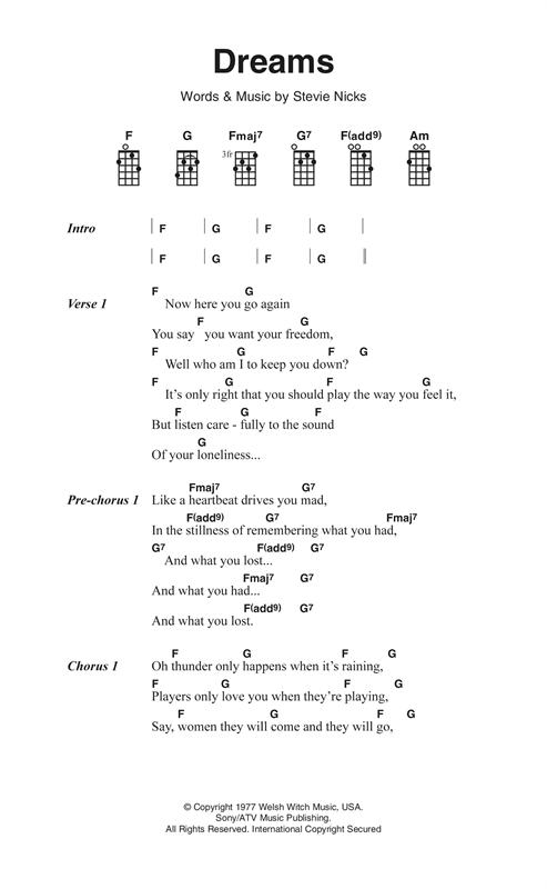 Fleetwood Mac 'Dreams' Sheet Music Notes, Chords | Download Printable  Ukulele Lyrics & Chords - SKU: 123698