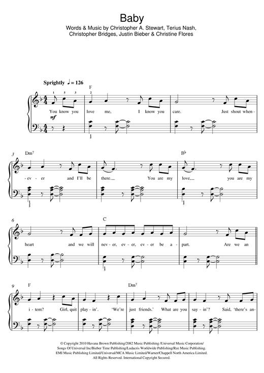 Justin Bieber Baby Sheet Music Notes Chords Printable R B