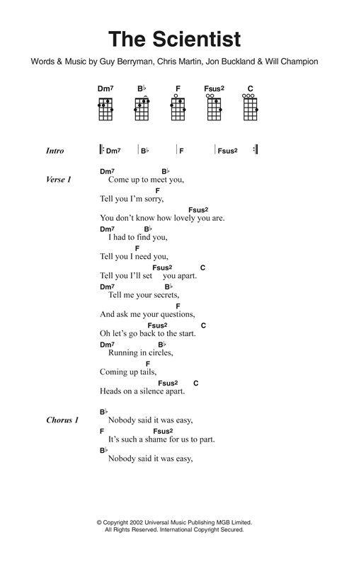 Coldplay The Scientist Sheet Music Notes Chords Printable Pop