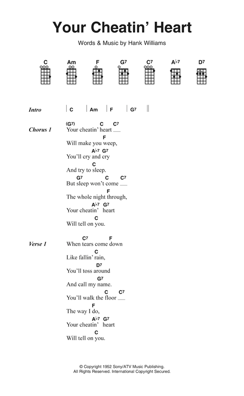 Hank Williams Your Cheatin Heart Sheet Music Notes Chords