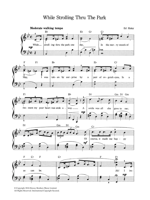 Ed Haley While Strolling Through The Park One Day Sheet Music