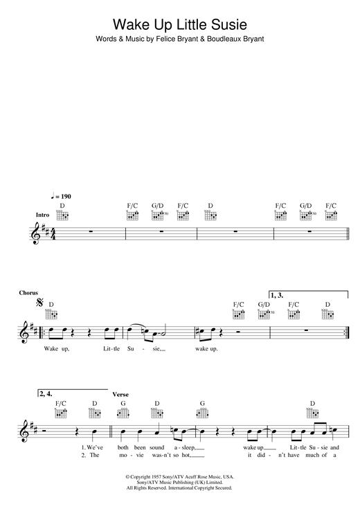 The Everly Brothers Wake Up Little Susie Sheet Music Notes Chords