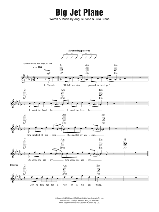 Angus Julia Stone Big Jet Plane Sheet Music Notes Chords