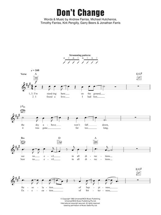 Inxs Dont Change Sheet Music Notes Chords Printable Rock