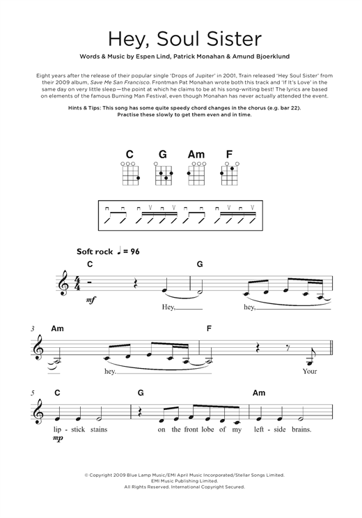 Train Hey Soul Sister Sheet Music Notes Chords Printable Pop