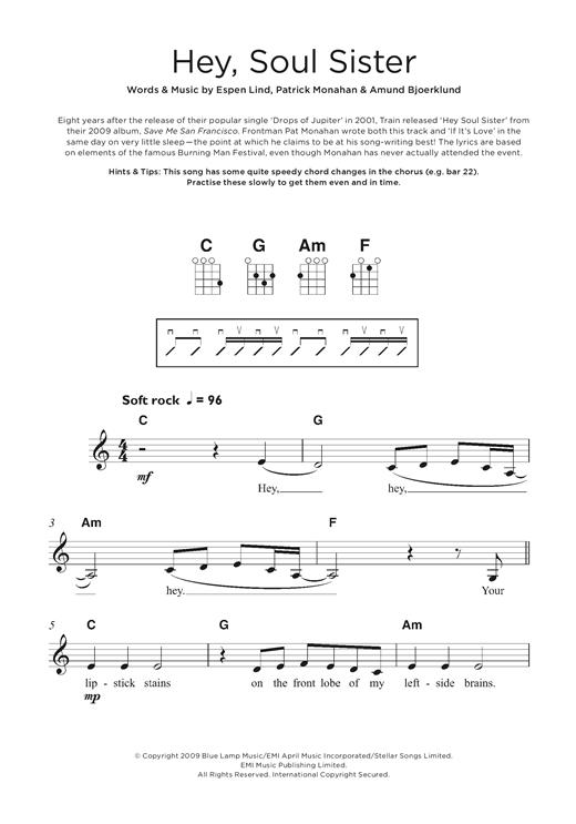 Train Hey Soul Sister Sheet Music Notes Chords Printable Pop Fascinating Hey Soul Sister Ukulele Strum Pattern