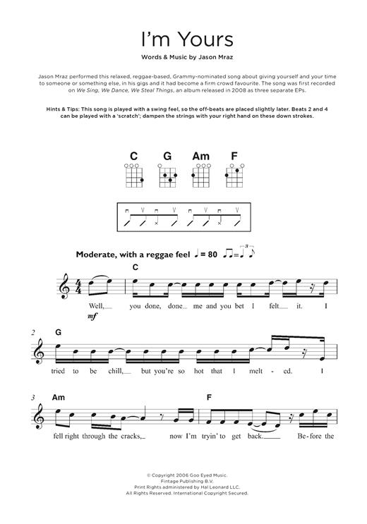 Jason Mraz Im Yours Sheet Music Notes Chords Printable Pop