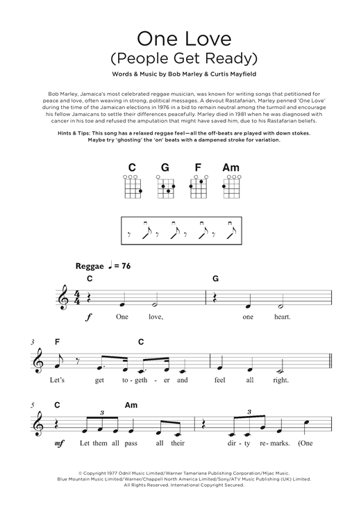 Bob Marley One Love People Get Ready Sheet Music Notes Chords