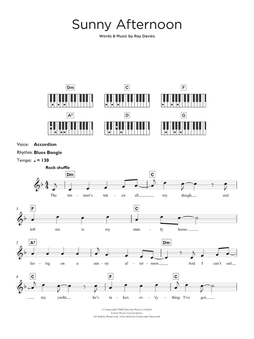 The Kinks Sunny Afternoon Sheet Music Notes Chords Printable