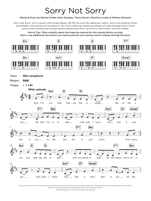 Demi Lovato Sorry Not Sorry Sheet Music Notes Chords Printable