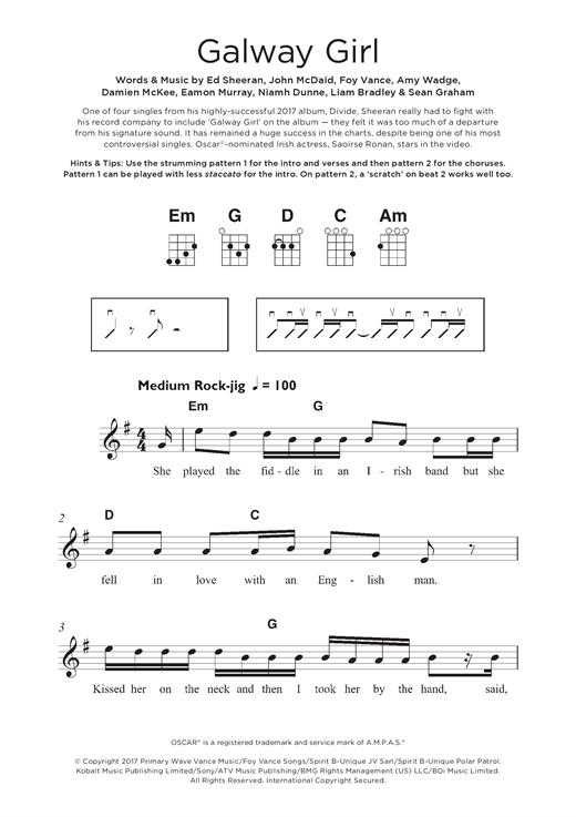 Ed Sheeran Galway Girl Sheet Music Notes Chords Printable Pop