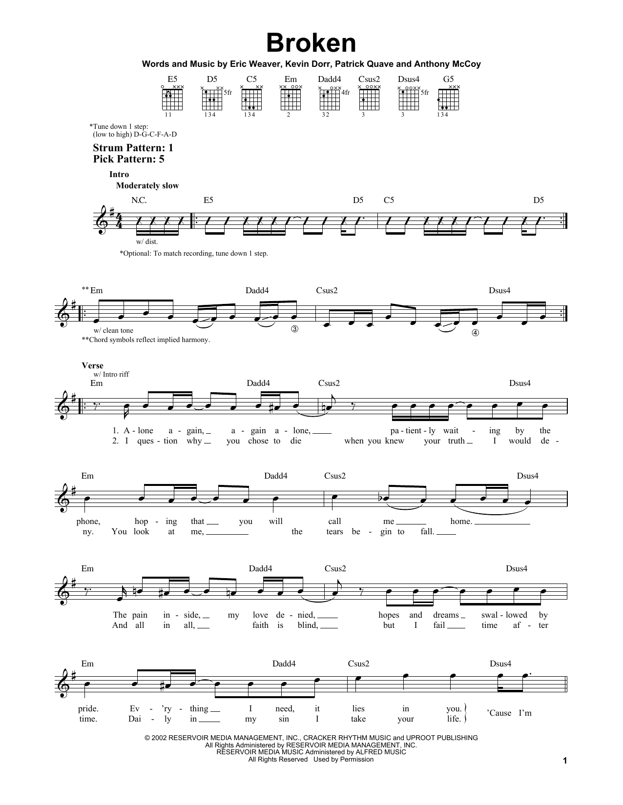 12 Stones Broken sheet music notes and chords