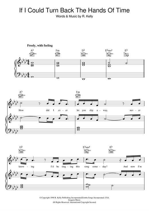 R Kelly If I Could Turn Back The Hands Of Time Sheet Music Notes