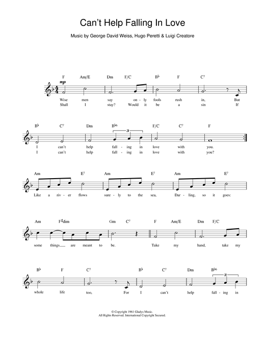 Ub40 Cant Help Falling In Love Sheet Music Notes Chords