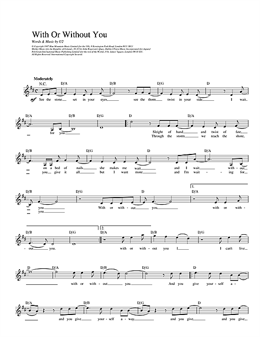 U2 With Or Without You sheet music notes and chords