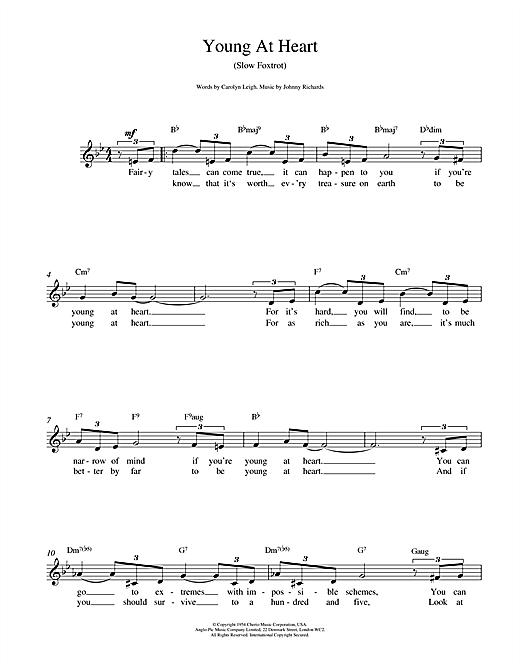 Frank Sinatra Young At Heart sheet music notes and chords