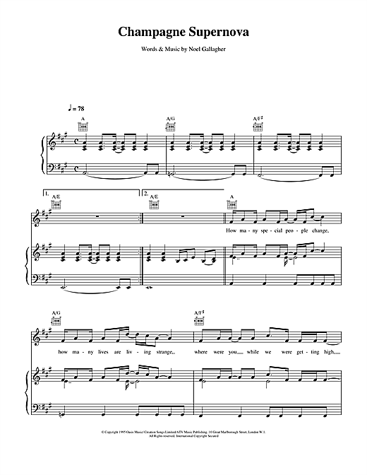 Oasis Champagne Supernova sheet music notes and chords