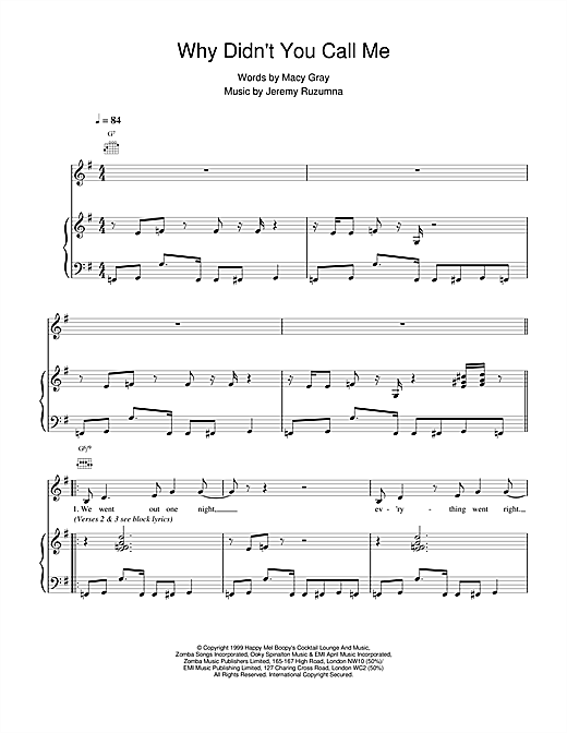 Macy Gray Why Didnt You Call Me Sheet Music Notes Chords