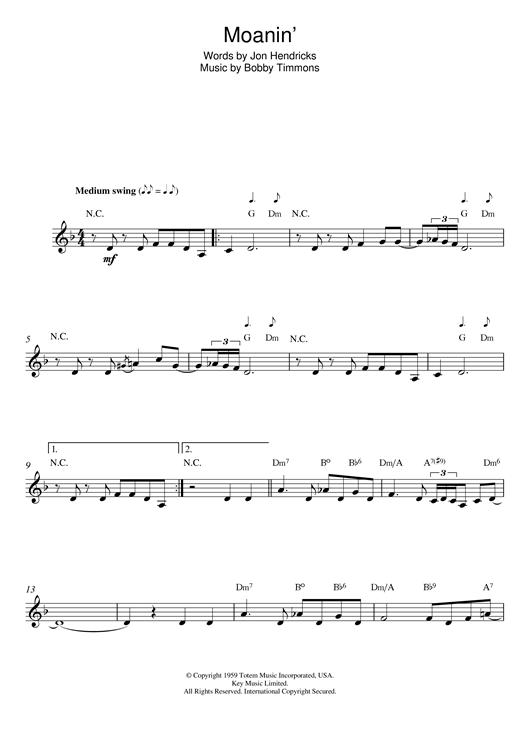 Bobby Timmons 'Moanin'' Sheet Music Notes, Chords | Download Printable Lead  Sheet / Fake Book - SKU: 14707