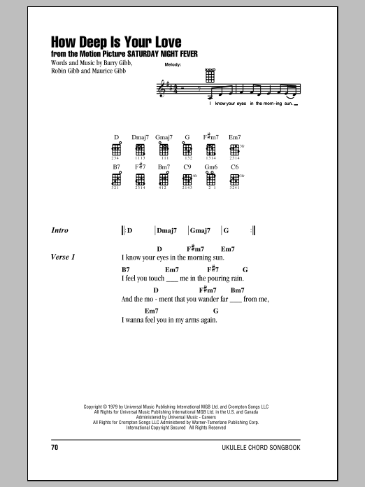 Bee Gees How Deep Is Your Love Sheet Music Notes Chords