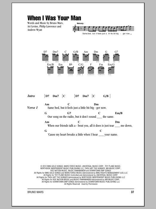 Bruno Mars When I Was Your Man Sheet Music Notes Chords