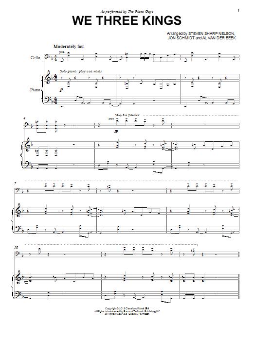 The Piano Guys We Three Kings Sheet Music Notes Chords