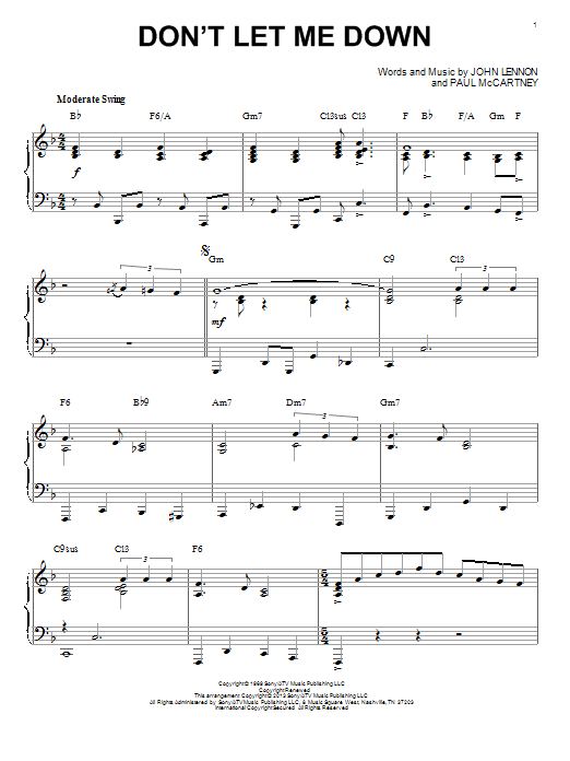 The Beatles Dont Let Me Down Sheet Music Notes Chords