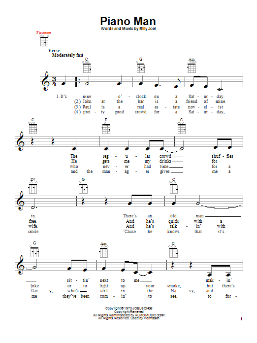 Billy Joel Piano Man Sheet Music Notes Chords Printable Rock