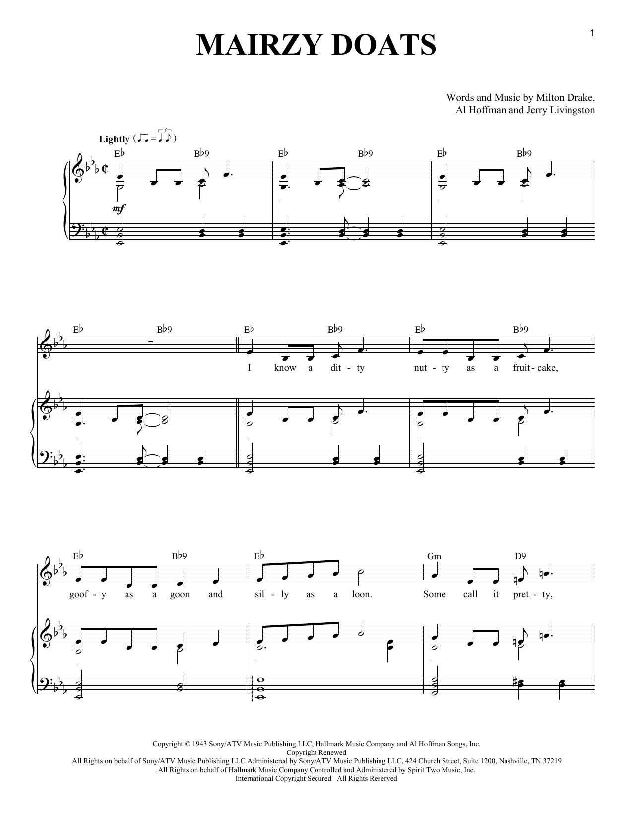 Milton Drake Mairzy Doats Sheet Music Notes Chords Printable