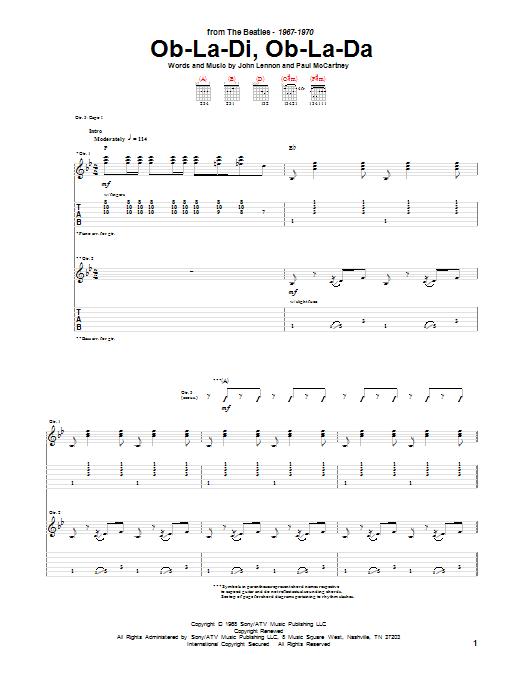 The Beatles Ob La Di Ob La Da Sheet Music Notes Chords