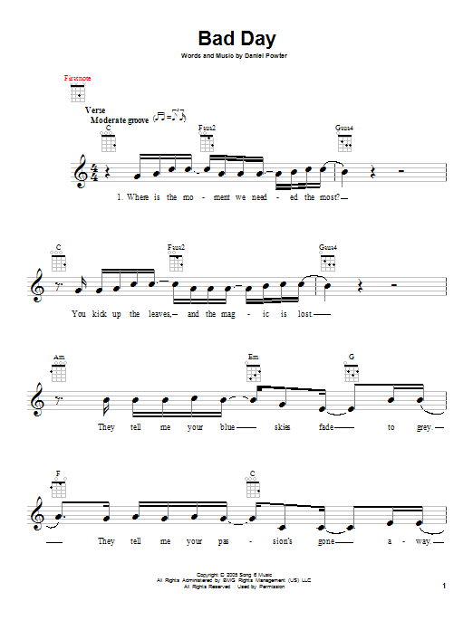Daniel Powter Bad Day Sheet Music Notes Chords Printable Rock