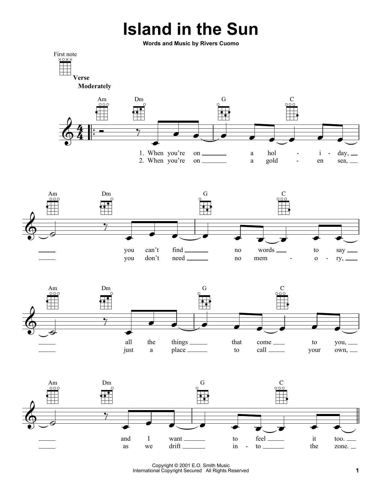 Weezer Island In The Sun Sheet Music Notes Chords Printable
