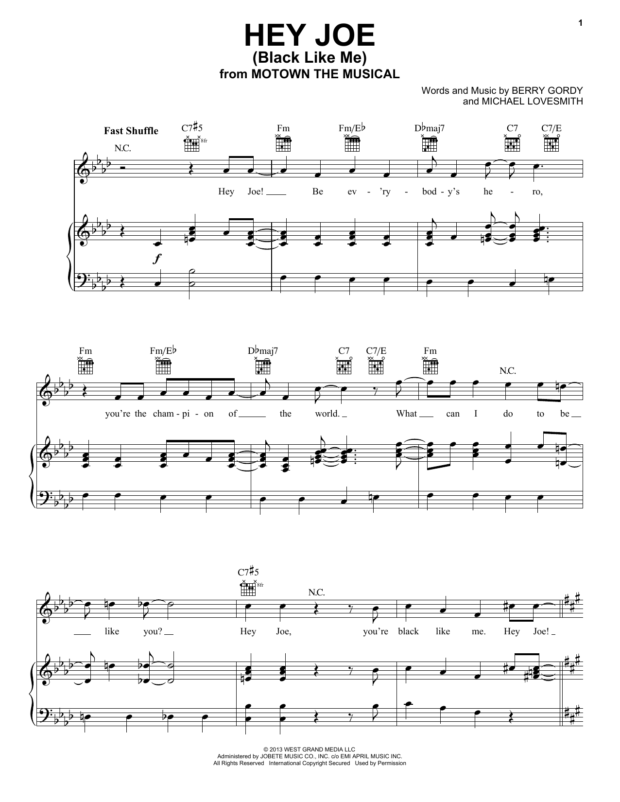 Berry Gordy Hey Joe Black Like Me Sheet Music Notes Chords