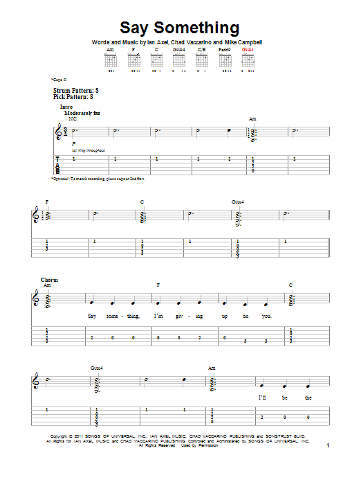 A Great Big World Say Something Sheet Music Notes Chords