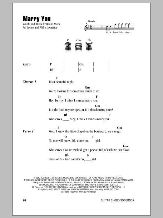 Bruno Mars Marry You Sheet Music Notes Chords Printable Rock