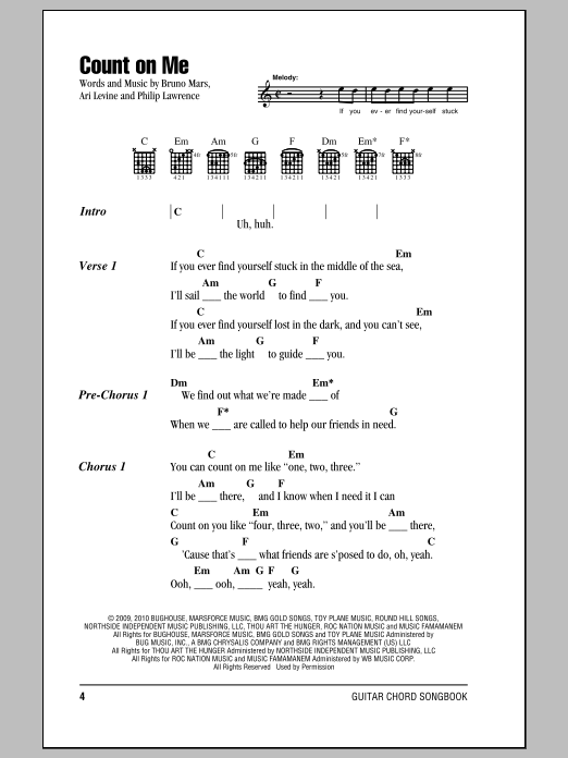 Bruno Mars Count On Me Sheet Music Notes Chords Printable Rock