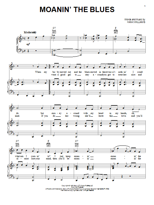 Hank Williams Moanin The Blues Sheet Music Notes Chords