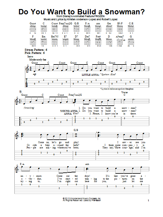 image about Do You Want to Build a Snowman Printable identified as Robert Lopez Do By yourself Need Towards Acquire A Snowman? Sheet Audio Notes, Chords  Down load Printable Simple Guitar Tab - SKU: 153346