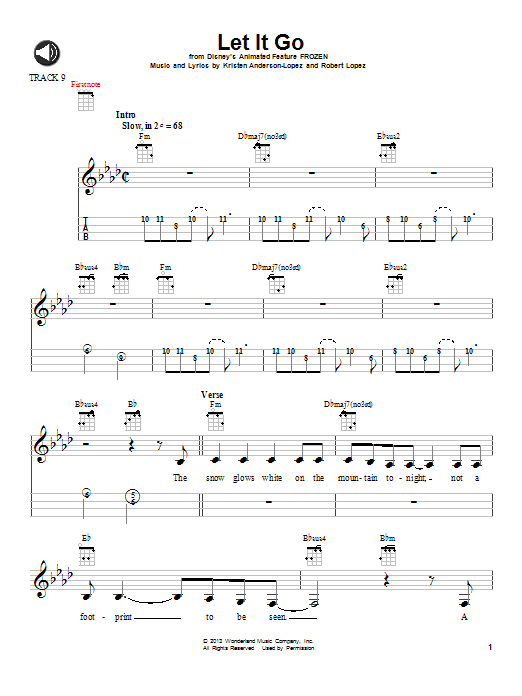 Idina Menzel Let It Go From Frozen Sheet Music Notes Chords