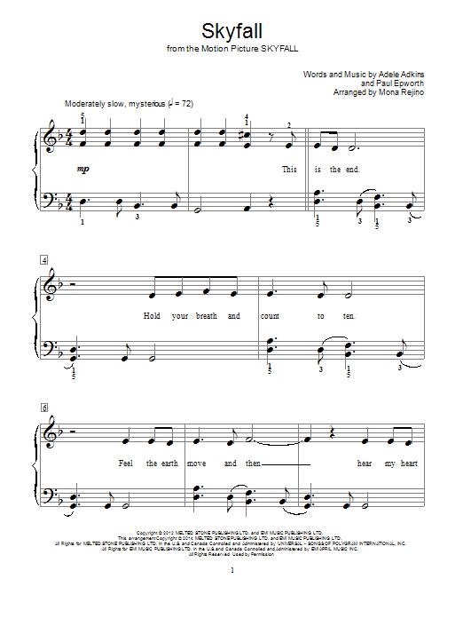 Mona Rejino Skyfall Sheet Music Notes Chords Printable Film And