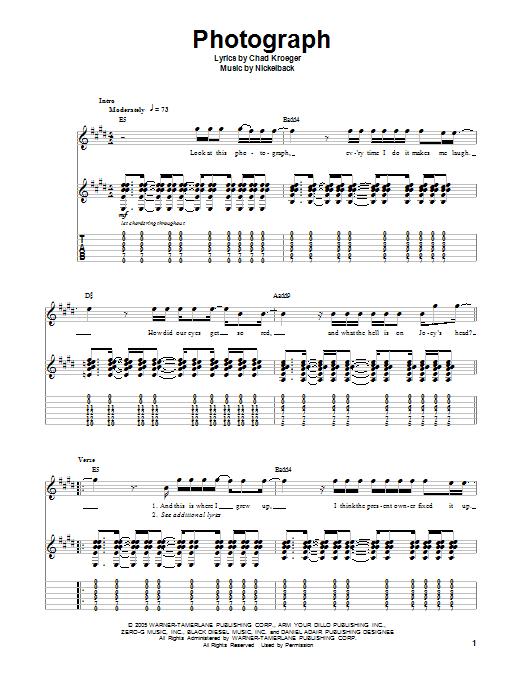 Nickelback Photograph Sheet Music Notes Chords Printable Rock