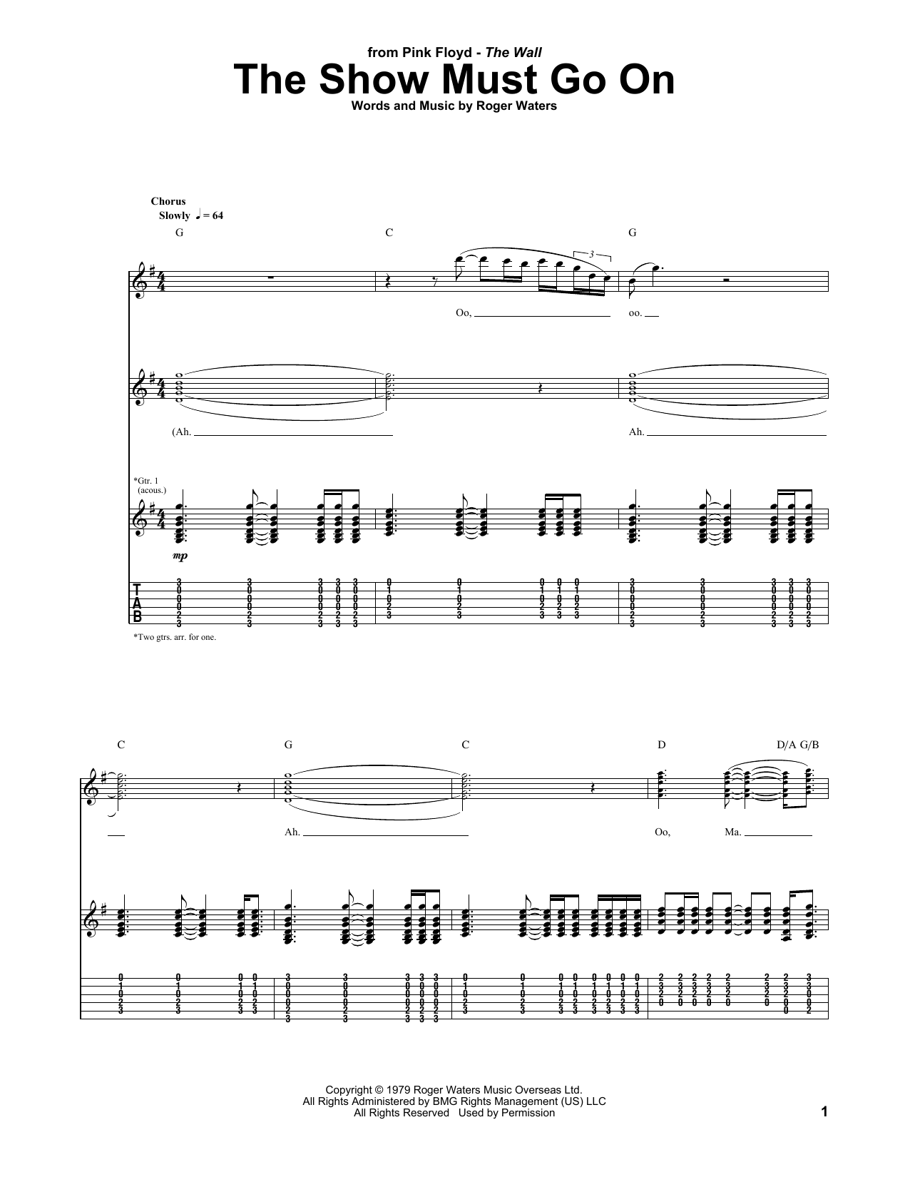 Pink Floyd The Show Must Go On Sheet Music Notes Chords