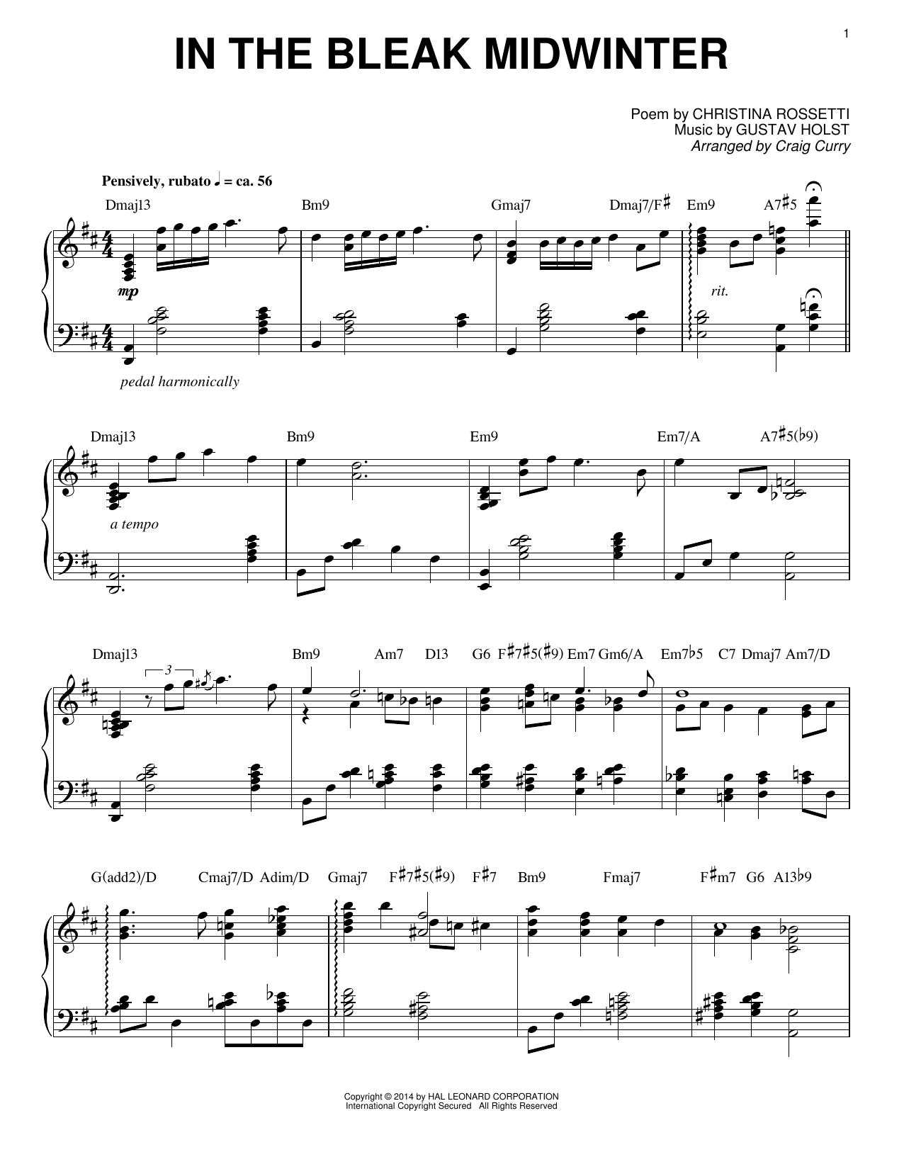 Craig Curry In The Bleak Midwinter Sheet Music Notes Chords