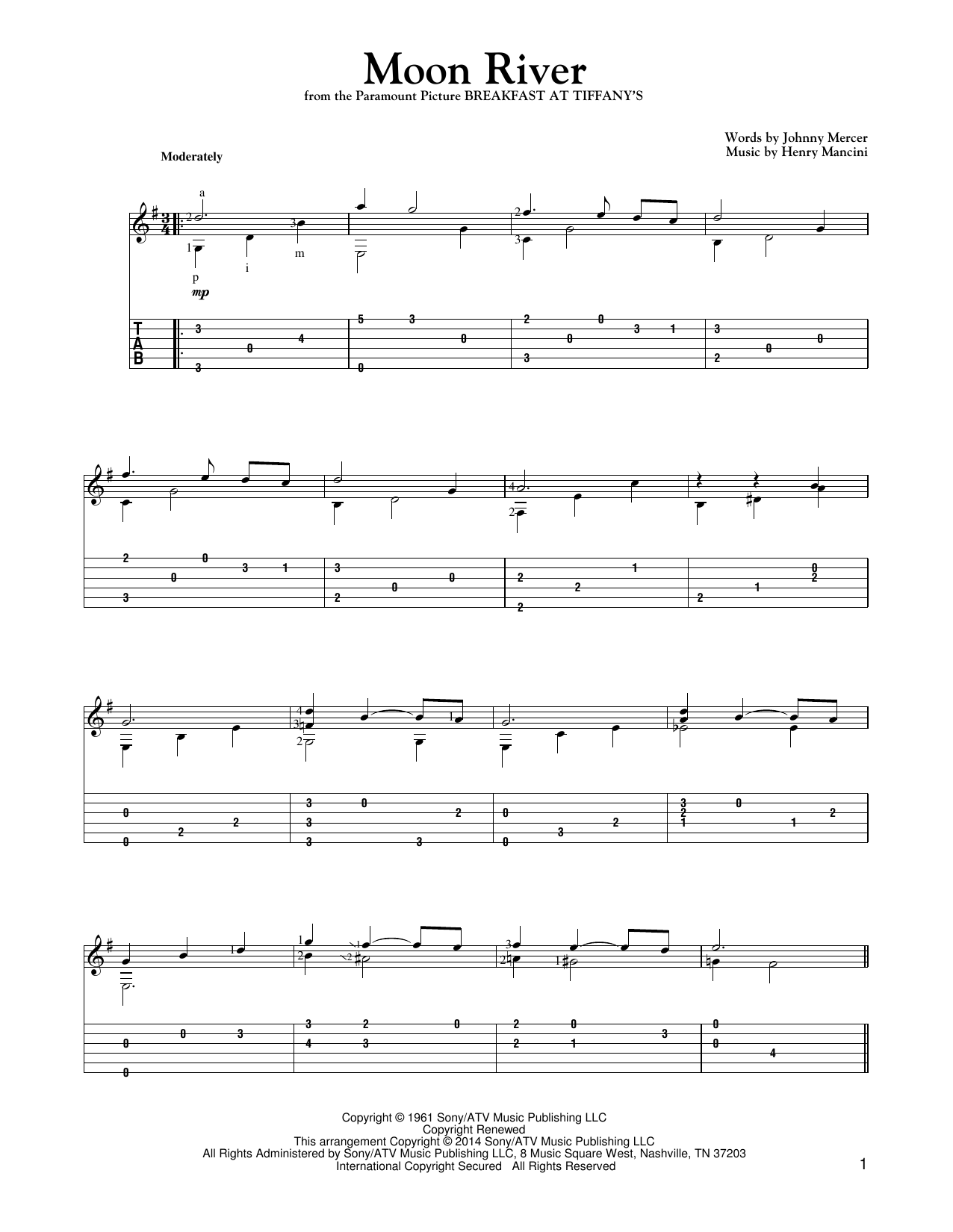Henry Mancini 'Moon River' Sheet Music Notes, Chords | Download Printable  Guitar Tab - SKU: 154768