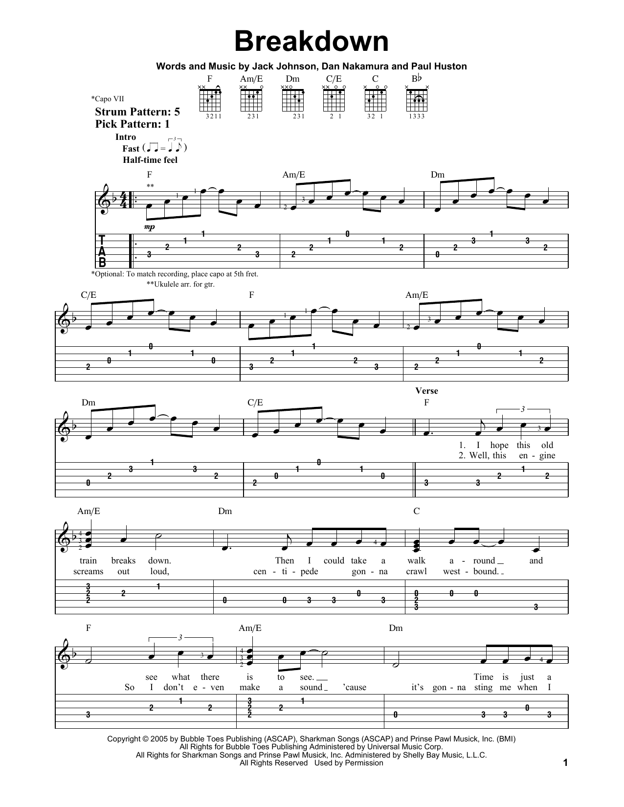 Jack Johnson Breakdown Sheet Music Notes Chords Printable Rock