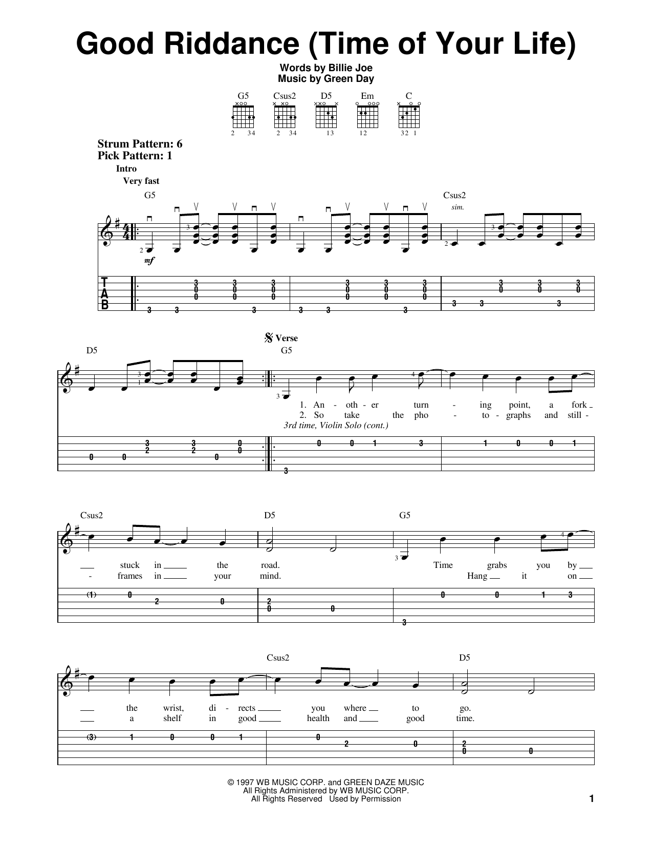 Green Day Good Riddance Time Of Your Life Sheet Music Notes