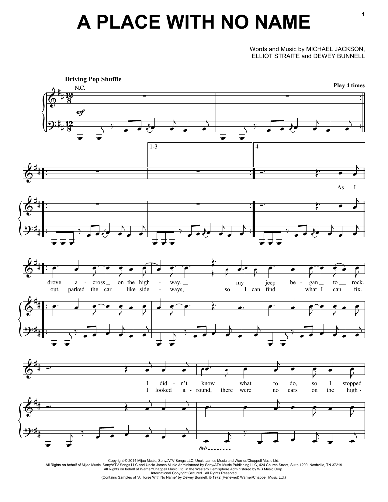 Michael Jackson A Place With No Name Sheet Music Notes Chords