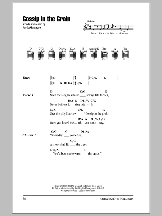 Ray Lamontagne Gossip In The Grain Sheet Music Notes Chords