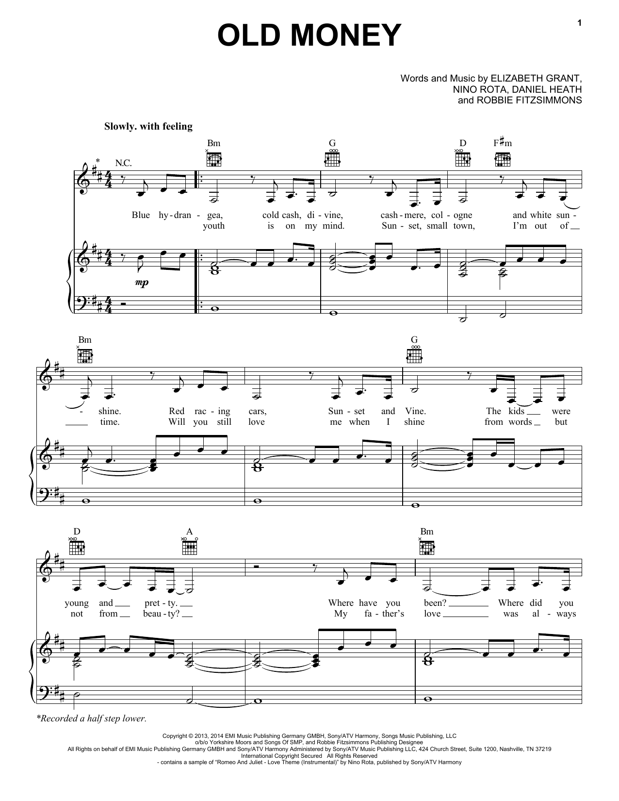 Lana Del Rey Old Money Sheet Music Notes Chords Printable Pop
