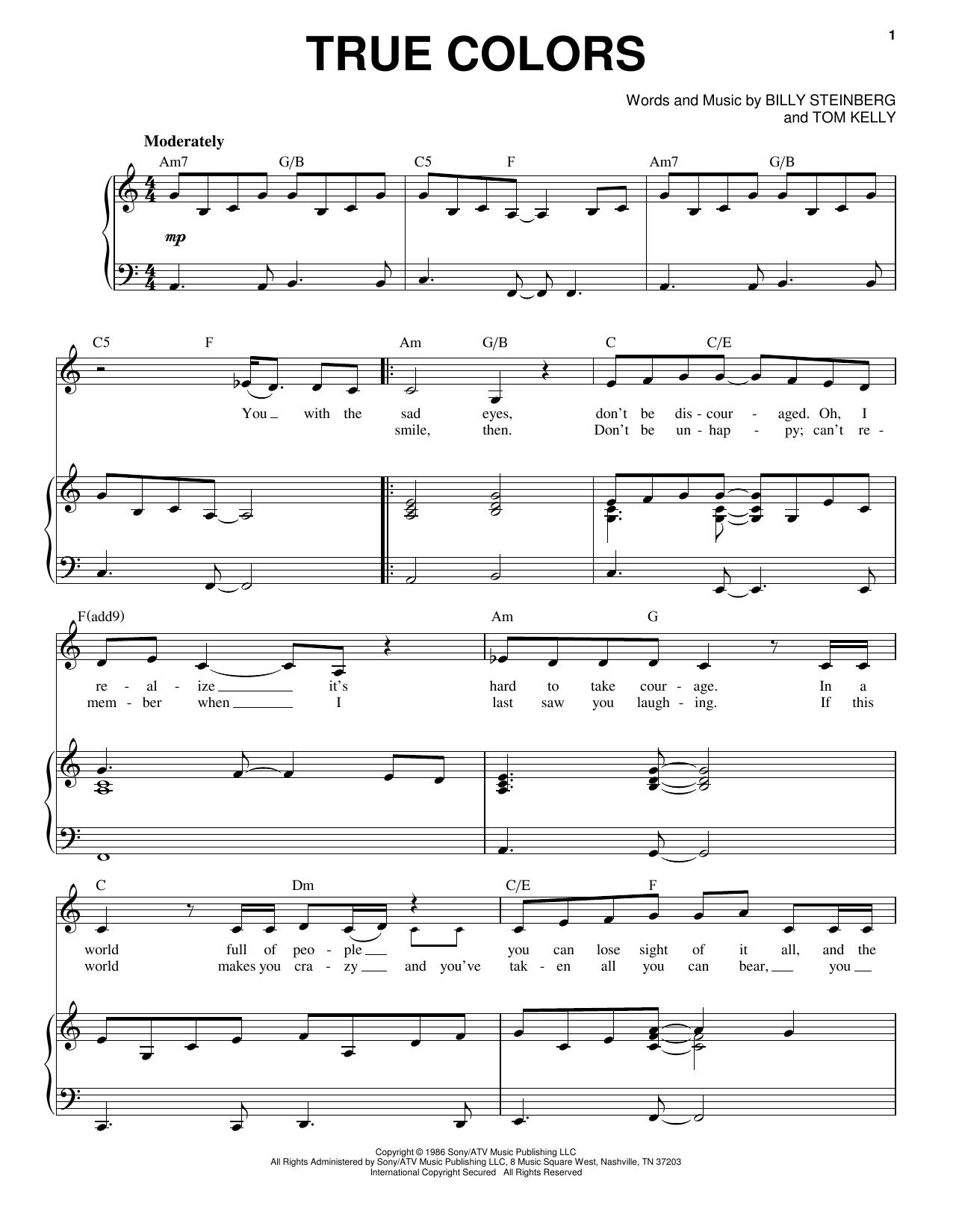 Cyndi Lauper True Colors Sheet Music Notes Chords Printable